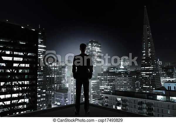 man and night city - csp17493829