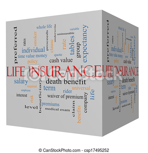 Life Insurance Word Cloud Concept on a 3D Cube - csp17495252