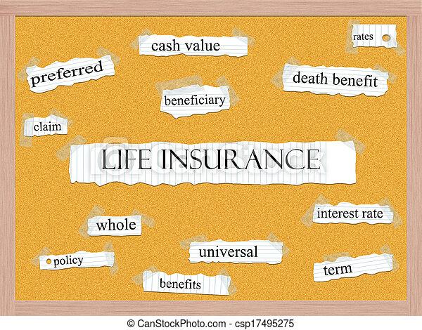 Life Insurance Corkboard Word Concept - csp17495275