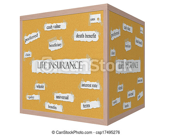 Life Insurance 3D cube Corkboard Word Concept - csp17495276