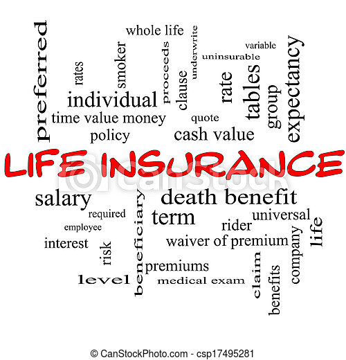 Life Insurance Word Cloud Concept on a Blackboard - csp17495281