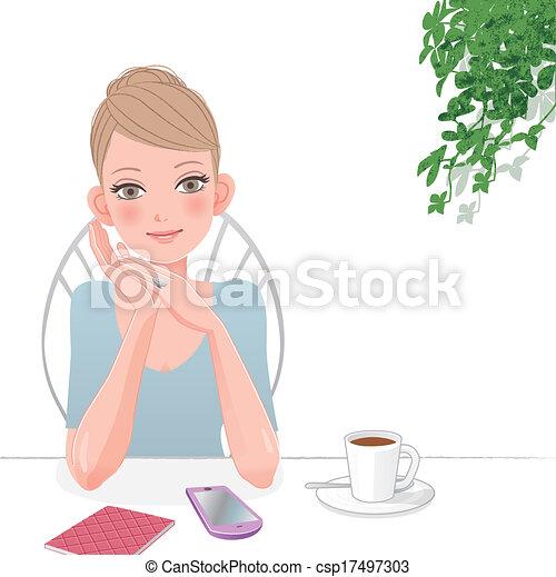 Cute Cafe Drawing Cute Woman Relaxing at Café
