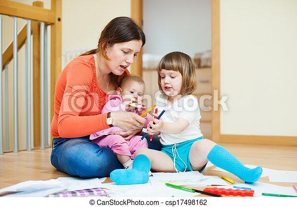 feliz, crianças, mãe - csp17498162