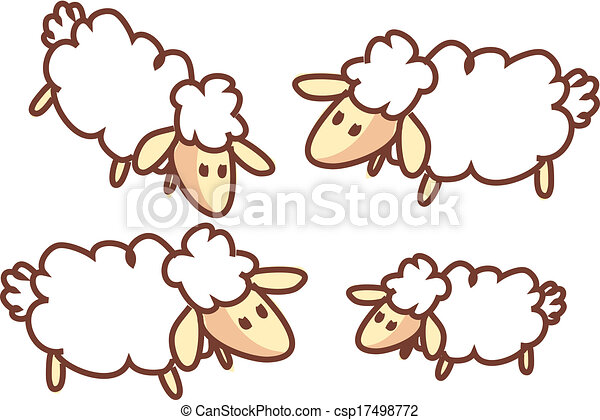 Sheep Flock Drawing a Flock of Sheep Csp17498772
