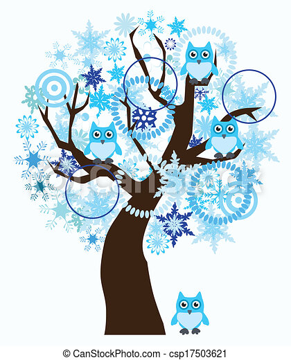 Tree vector winter tree with snowflakes owls csp17503621 search