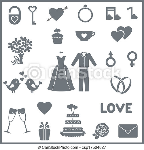 Set of flat vector icons for wedding or Valentine's day - csp17504827