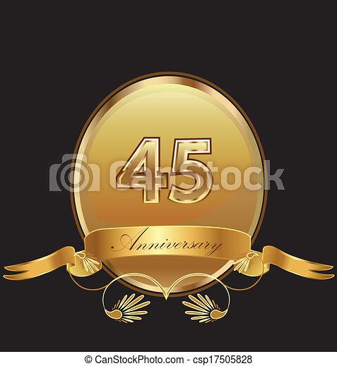 Vector Illustration of 45th anniversary birthday seal in ...