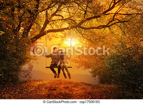Stock Photo Romantic Couple Swing In The Autumn Park Stock Image