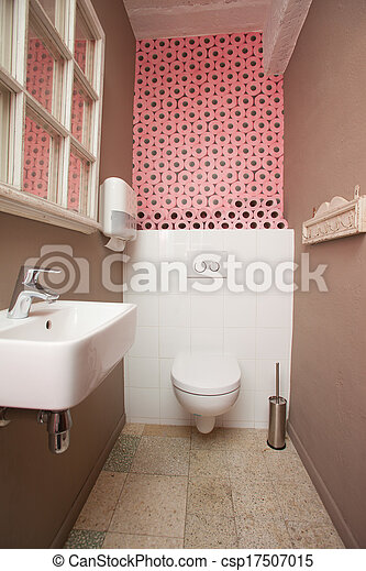 Stock fotografie van roze toilet bevatten kamer muur versiering papier csp17507015 - Roze kleine kamer ...