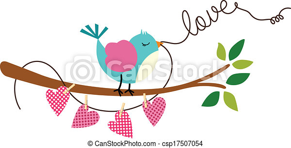 Cute Love Bird on Branch Tree - csp17507054