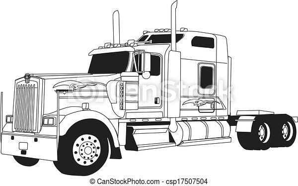 Clipart Vecteur De Kenworth Camion Ligne Dessin 233 Kenworth Camion Csp17507504