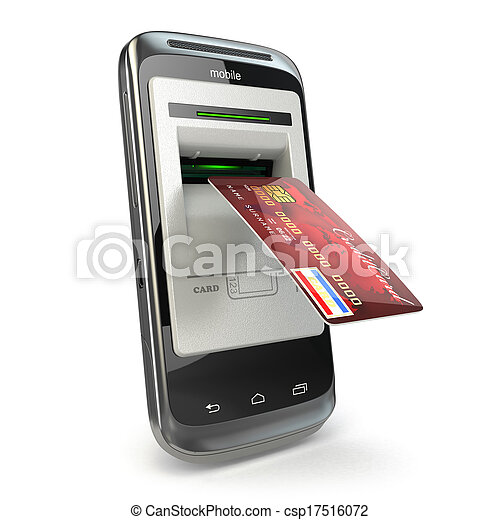 Mobile banking. Mobile phone as atm and credit card. - csp17516072