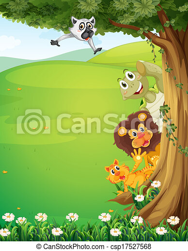 A tree at the top of the hills with animals hiding - csp17527568