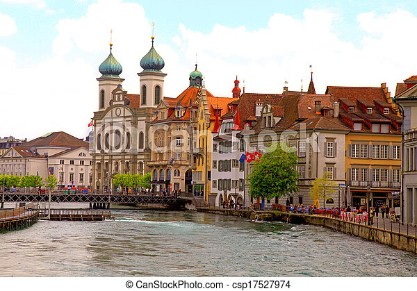 Jesuit Church and waterfront , Lucerne, Switzerland - csp17527974