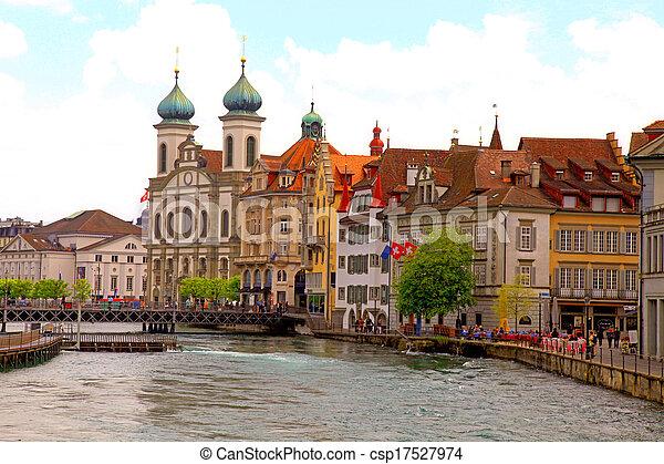 Jesuit Church and waterfront , Lucerne, Switzerland - csp17527974