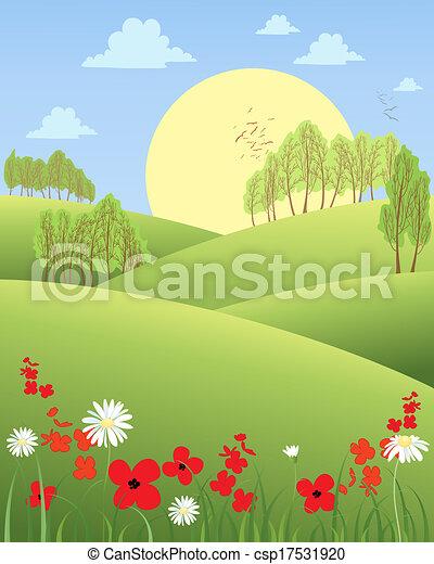 Vector Illustration of summer morning - an illustration of ...