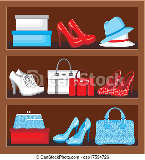 Vector Illustration Of Shelf With Bags And Shoes Vector