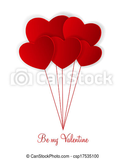 Happy Valentines Day card with heart. Vector illustration - csp17535100