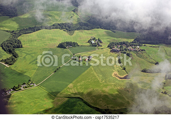 aerial view over the small town - csp17535217