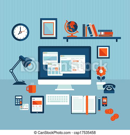 vecteur clipart de plat concept business espace de travail flat csp17535458. Black Bedroom Furniture Sets. Home Design Ideas