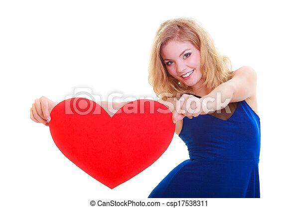Red heart. Love symbol. Woman hold Valentine day symbol. - csp17538311