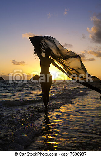 woman on the beach at sunrise - csp17538987