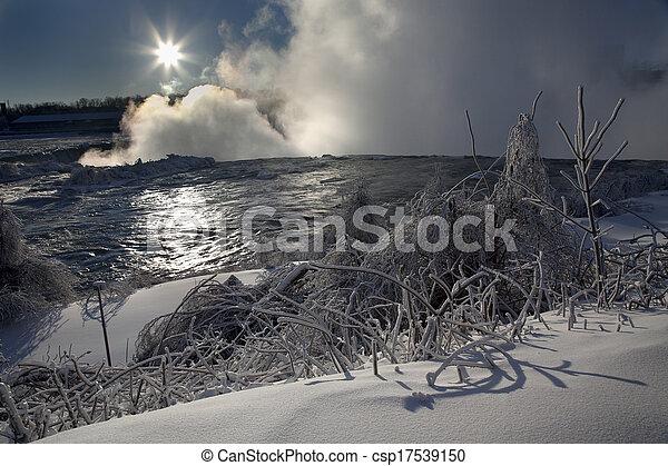 Niagara Falls - Winter Sun - csp17539150