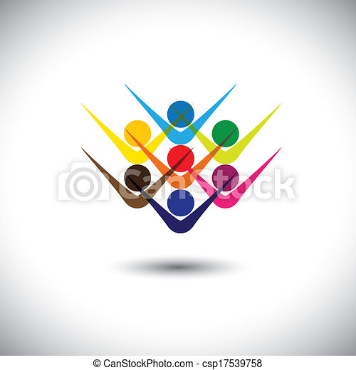 Colorful abstract concept vector happy excited people or children. This graphic illustration can also represent happy employees & staff, kids playing, elated friends, people partying, etc - csp17539758