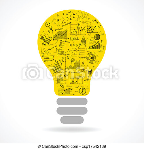 Doodle idea lightbulb icon with infographics charts - csp17542189