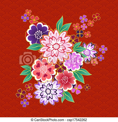 clip art vecteur de d coratif motif kimono fond floral. Black Bedroom Furniture Sets. Home Design Ideas