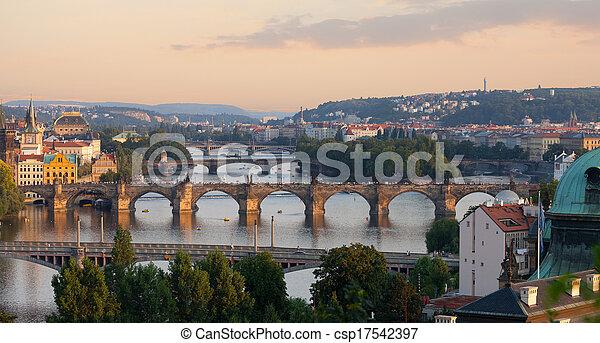 Prague, view of the Vltava River and bridges in the summer evening - csp17542397
