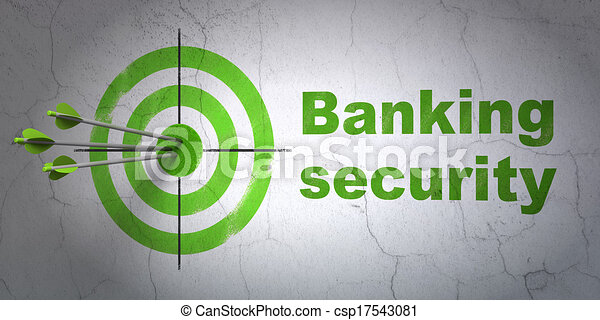 Protection concept: target and Banking Security on wall background - csp17543081