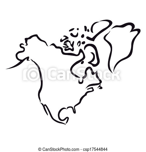 EPS Vector of Black outline of North America - Black abstract outline ...