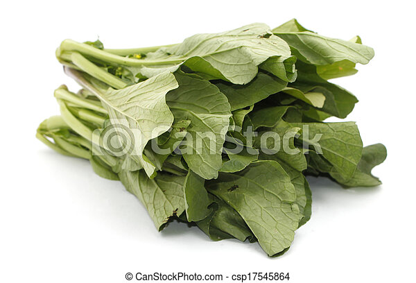 Mustard greens vegetable over white - csp17545864