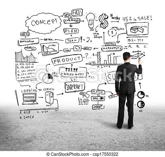 man drawing strategy - csp17550322