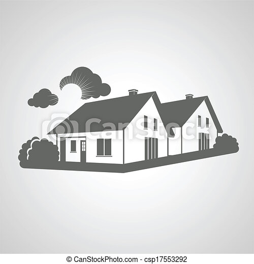 Vector symbol of home, group of houses icon, realty silhouette, sign of real estate - csp17553292