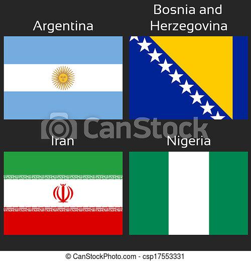 Vector - Vector flags - football Brazil, group F - Argentina, Bosnia ...