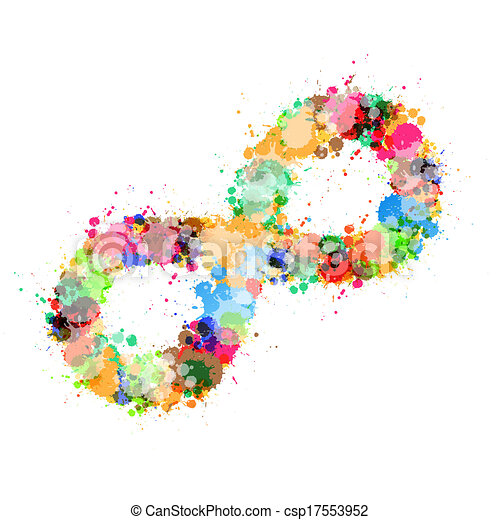 Abstract Vector Colorful Stain, Splash Infinity Symbol - csp17553952