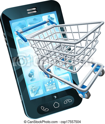 Vector clipart of shopping cart mobile phone mobile for Shopping online mobili