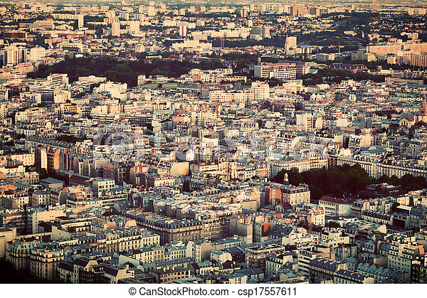 Paris, France view from the top on a residential district - csp17557611