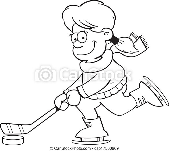 Cartoon Girl Playing Ice Hockey (Bl