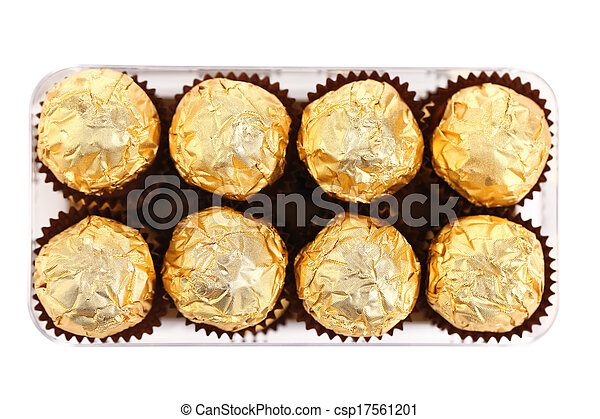 Two rows of chocolate bonbons in box. - csp17561201
