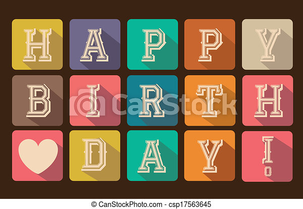 EPS Vector of Happy Birthday - Happy birthday card with squares vector...