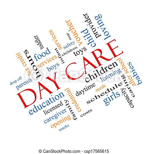 Clipart of Day Care Word Cloud Concept Angled - Day Care Word ...