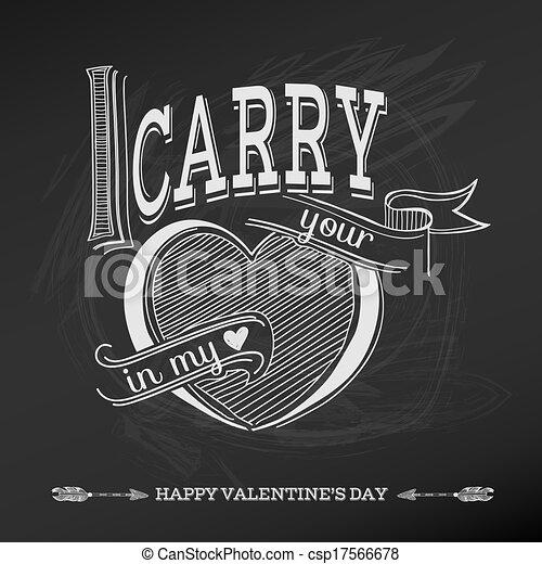 Vintage Valentine's Day Card Design - love, wedding - in vector - csp17566678