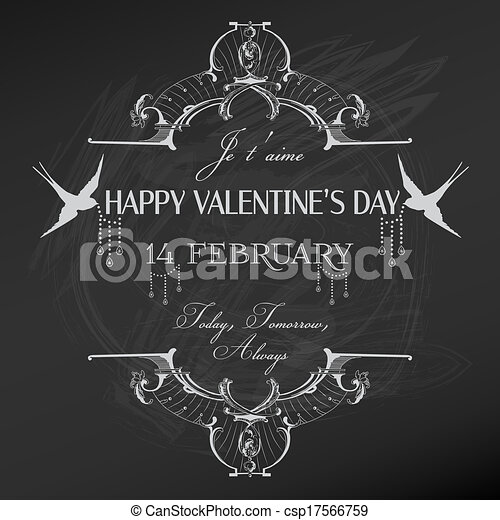 Vintage Valentine's Day Card Design - love, wedding - in vector - csp17566759