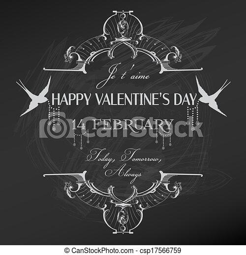 Vintage Valentine's Day Card Design - love, wedding - in vector - csp17566759