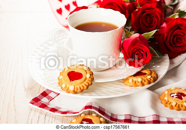 tea cup with cookies for Valentine's day - csp17567661
