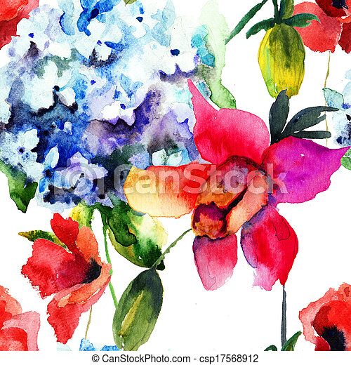 beau, modèle, hortensia,  seamless, pavot, fleurs - csp17568912