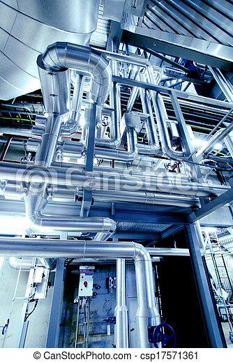 Industrial zone, Steel pipelines in blue tones   - csp17571361